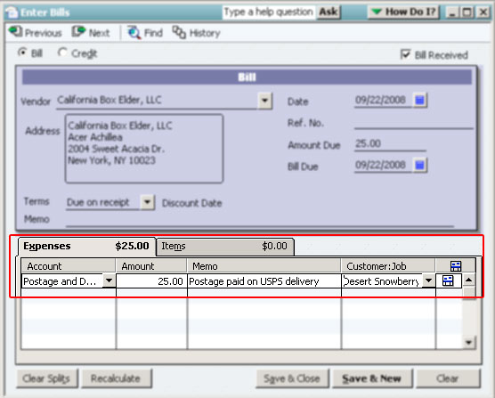 Figure 1 The Expense Entry Screen In Quickbooks